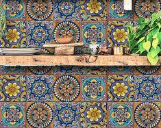 Bristol Kitchen Bathroom Backsplash Tile Wall Stair Floor | Etsy Tile Decals, Wall Tiles, Vinyl Decals, Backsplash Tile, Removable Backsplash, Wall Waterproofing, Tile Stickers Kitchen, Mediterranean Tile, Flooring For Stairs