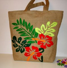 Jute summer tote bag handmade hand applique with hibiscus flower artistic unique detailed embroidery resort bag beach bag Burlap Tote, Jute Tote Bags, Tote Bags Handmade, Hand Applique, Embroidery Applique, Hibiscus Flowers, Summer Tote Bags, Fabric Painting, Applique Quilts