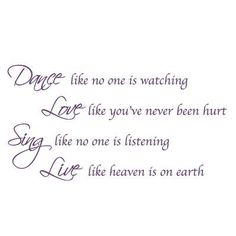 """The Decal Guru Dance, Sing, Love Wall Decal Size: 34"""" H x 65"""" W x 0.01"""" D, Color: Violet"""