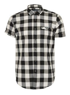 BLACK JUMBO CHECKED SHORT SLEEVE SHIRT - Short Sleeve Shirts - Men's Shirts  - Clothing