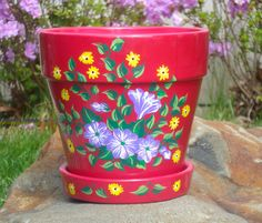 Pink Flowerpot With Hand Painted Flowers