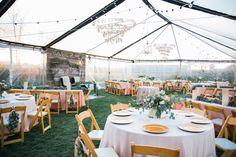 Wedding/reception/layout/clear tent/blush/gold