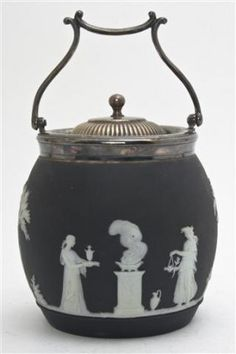 Wedgwood Black Jasperware Biscuit Barrel