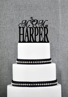 New to ChicagoFactory on Etsy: Mr and Mrs Last Name Cake Topper with Treble Bass Clef Heart Mr and Mrs Cake Topper Wedding Cake Topper Elegant Wedding Topper- (S036) (25.00 USD)