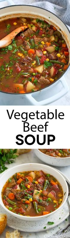 Vegetable Beef Soup - This soup is the perfect way to use up all those summer veggies and those tender chunks of beef add such a delicious flavor. A hearty soup that's sure to satisfy, and you'll love the left overs! #soup #vegetablesoup #beefsoup #comfortfood #recipe via @cookingclassy