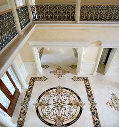 We Offer Custom Marble Foyer Design and Luxury Marble Wall Design Foyer Design, Lobby Design, Ceiling Design, Wall Design, Marble Foyer, Marble Mosaic, Marble Wall, White Marble, Italian Marble Flooring