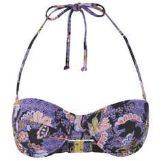 MINKPINK Women's Midnight Bloom Wide Strap Cupped Bikini Top ($21) ❤ liked on Polyvore featuring swimwear, bikinis, bikini tops, multi, halter swimsuit tops, swimsuit tops, bikini swimwear, underwire tankini tops and halter bikini