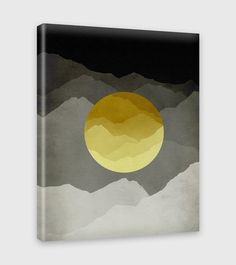"""Mid Century Modern wall art canvas print. This abstract mountain landscape in yellow and gray would make a great living room, bedroom or office decor. • 1.5"""" deep gallery wrapped canvas • Printed on a"""