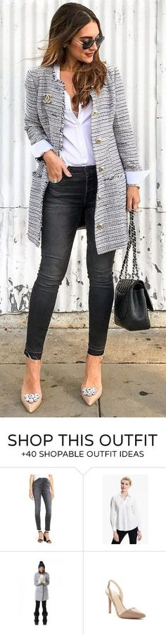 40 Outfits Ideas That Will Make You Jealous - Chanel Clothes - Trending Chanel Clothes - / Grey Coat / White Shirt / Black Jeans / Nude Pumps Over 50 Womens Fashion, Fashion Over 40, Work Fashion, Trendy Fashion, Winter Fashion, Fashion Trends, Classy Fashion, 50 Fashion, Fashion Black