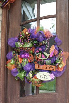 Witch Halloween Mesh SOLD Wreath 26 by CellaJaneCreations on Etsy, $82.00
