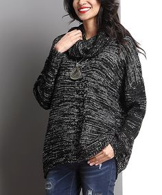 Another great find on #zulily! Reborn Collection Black Marble-Knit Cowl Neck Sweater by Reborn Collection #zulilyfinds
