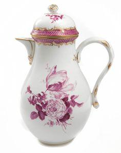 """pot, Shape """"Glatte Form"""", Bouquet, off centre, early style, mosaic, purple, gold border/rim, 1,15 l"""