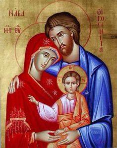 The Holy Family Greek Orthodox Icons, Byzantine Icons, Greek Icons Religious Images, Religious Icons, Religious Art, Byzantine Icons, Byzantine Art, Greek Icons, Religion Catolica, Russian Icons, Family Images