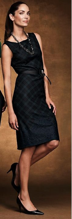 Blackwatch plaid dress with a hint of lace.