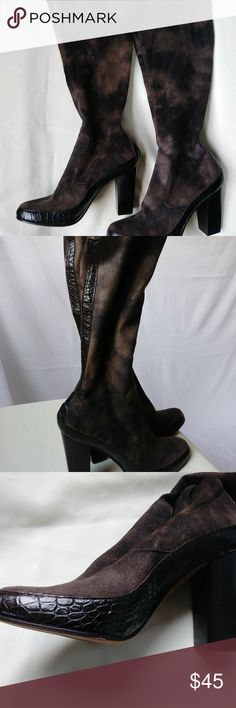 Donald J. Pliner Faux Suede Block Heel Calf Boots -Made in Spain -Attractive animal print -Faux suede  -Crocodile-look trim -Stretchy fabric to allow room for larger calves -13.5 inch opening (before stretching) -15 inches from heel of foot to top of boot  Note: Lighting and media device settings may cause slight variations in color. All measurements are approximate Donald J. Pliner Shoes Heeled Boots