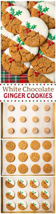 My Hack - Start with store bought ginger cookies. White Chocolate Dipped Ginger Cookies (soft and chewy) - these cookies are SO GOOD! So much gingery flavor and the white chocolate is the perfect compliment. Holiday Cookies, Holiday Desserts, Holiday Baking, Holiday Treats, Holiday Recipes, Christmas Ginger Cookies, Soft Ginger Cookies, Cookies Soft, Chip Cookies