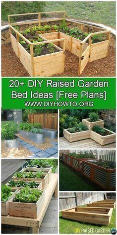More than 20 #DIY Raised Garden Bed Ideas Instructions [Free Plans] from Cinder block garden bed to wood garden bed and garden tower! #Gardening-->> http://www.diyhowto.org/diy-raised-garden-bed-ideas/ #towergardenideas #gardenbeds #raisedgardens