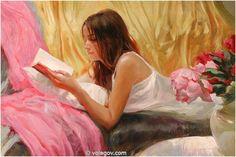 """Eugenia on Gold"" by Vladimir Volegov, painting, cm, oil on canvas Reading Art, Woman Reading, Albrecht Durer, Woman Painting, Figure Painting, Painting Art, Vladimir Volegov, Creation Photo, Commercial Art"