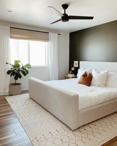 Accent Wall Ideas for Master Bedroom - Accent Wall Ideas for Master Bedroom , Master Bedroom Reveal Diy Herringbone Wall with Stikwood Green Accent Walls, Green Accents, Grey Walls, Woven Wood Shades, Accent Wall Bedroom, Bedroom Windows, Suites, New Room, Home Bedroom
