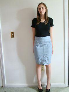 Blue white pinstripe pencil skirt -- reconstructed men's button up shirt