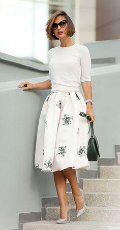 white printed full skirt