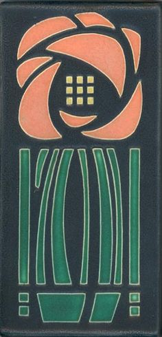 MOTAWI TILE GLASGOW ROSE TILE - GREEN SALMON - INSPIRED BY DARD HUNTER'S AND CHARLES RENNIE MACKINTOSH DESIGNS