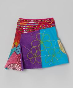 Red & Purple Patchwork Floral Skirt - Girls | Daily deals for moms, babies and kids