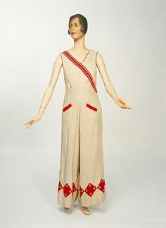1930s beach suit.  Usually known as beach pyjamas, they were loose and casual two- or three-piece suits, intended for lounging about in public in the heat of summer. Flowing beach suits and cruise pyjamas were an early opportunity for women to wear trousers.