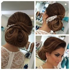 Medium Hair Styles For Women Over 40 Bridal Hair Updo, Bridal Hair And Makeup, Hair Makeup, Anna Makeup, Wedding Updo, Chic Wedding, Bride Hairstyles, Hairstyles Haircuts, Cool Hairstyles