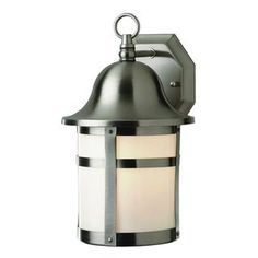 Shop for Cambridge Brushed Nickel Finish Outdoor Wall Lantern with White Shade…