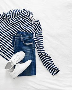 Striped top & perfectly ripped denim. Shop the outfit www.liketk.it/2aNwf #commedesgarconsplay #citizensofhumanity #commonprojects