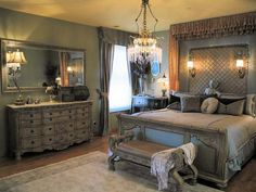 Romantic gray bedroom... I love the bed and dresser but needs a few pops of color