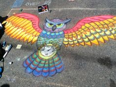 If they're a fan of Harry Potter or they just love owls, this will be a super fun thing to draw with Walkie Chalk. Amy Winehouse, Chalk Drawings, Art Drawings, Sidewalk Chalk Art, Sidewalk Ideas, Chalk Design, Street Art Graffiti, Graffiti Artists, Owl Art