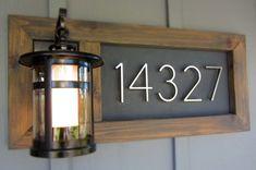 Art deco style numbers. contemporary address plaque + light -I'm loving the idea... Minus the light