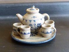 Jane Graber Miniature Dollhouse Tea for Four Full Set 1:12 Scale Stoneware