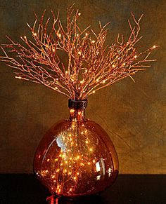 copper branches with fairy lights Copper Branch, Copper Kitchen, Copper Bathroom, Willow Branches, Copper Wedding, Fall Decor, Holiday Decor, Mood Light, Oil Lamps