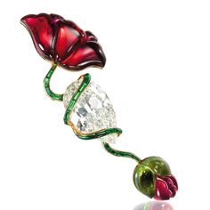 A diamond, pink and green tourmaline Poppy flowe