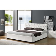 2017 New Design PU Upholstery Bed for Bedroom Curve Design, Black Bedding, Bed Styling, New Room, Bed Design, Modern Contemporary, Mattress, Home Goods, Shabby Chic