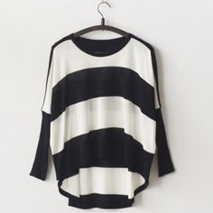 With a flowered scarf - Black and White Stripe Cropped Long Sleeve Loose Sweater $23.59