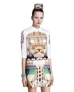 SheInside White Wing Collar Half Sleeve Retro Print Shift Dress