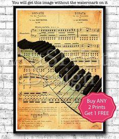 Piano Keys Music Note Sheet Print Music Poster Wall Art