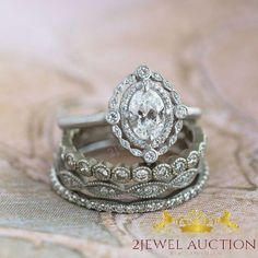 Vintage 14K White Gold Fn Bridal Wedding Sets Oval Cut Diamond Engagement Rings #weddingring