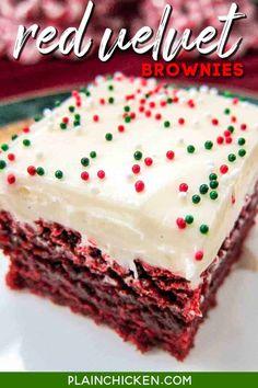 Brownie Red Velvet, Red Velvet Desserts, Red Velvet Recipes, Red Velvet Cookies, Red Velvet Cupcakes, Velvet Cake, Brownie Toppings, Brownie Recipes, Bar Recipes