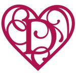 heart flourish monogram d