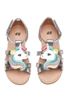 Sandals with Appliqué | Silver-colored/unicorn | KIDS | H&M US