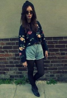 High waisted shorts and sweater, love it