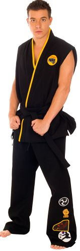 """Exclusive to 80sTees.com, this authentic movie-quality costume is a near perfect replica of the Gi worn by William Zabka as Johnny in the original Karate Kid.  We own the original film-used Gi and lovingly reproduced it.  Other sites may claim they carry the """"Cobra Kai Replica Gi Adult Costume"""", but none can claim they referenced the source material when creating it."""