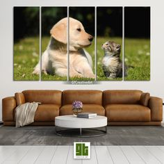 Small Puppy and Cute Kitten, Multi Panel Framed Canvas Set, Pets on Grass Home Wall Art, Dog and Cat Print Decor, Pet Animal Decoration Gift by GTCreativeArt on Etsy Bird Wall Art, Home Wall Art, Framed Canvas, Canvas Wall Art, Forest Decor, Custom Canvas Prints, Fantasy Forest, Small Puppies, Animal Decor