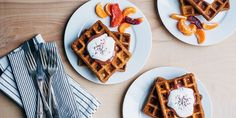 A surprisingly simple recipe for overnight yeasted waffles topped with fresh blood orange curd and festive sprinkles. Breakfast Bars, Make Ahead Breakfast, Paleo Breakfast, Breakfast Recipes, Breakfast Ideas, Breakfast Buffet, Pancakes, Banana Sandwich, Breakfast