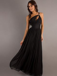 One-Shoulder Prom Gown with Beading